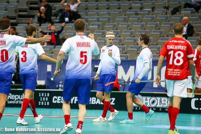 Markus Lindgjerdet har spilt 40 landskamper for Norge, her fra en kamp i VM i 2018 i tsjekkiske Praha. Foto: Rune Halvorsen